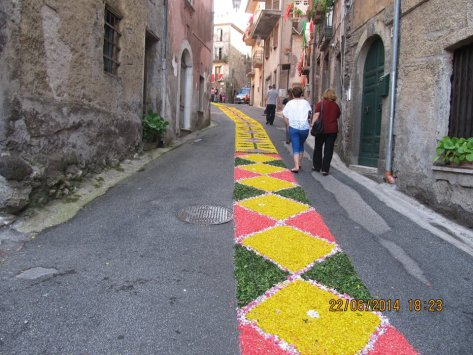 The path of flower petals and if you follow it uphill (everything in Supino is uphill!) and turn right at the fork in the road, you'll come to my house on via condotto vecchio #10